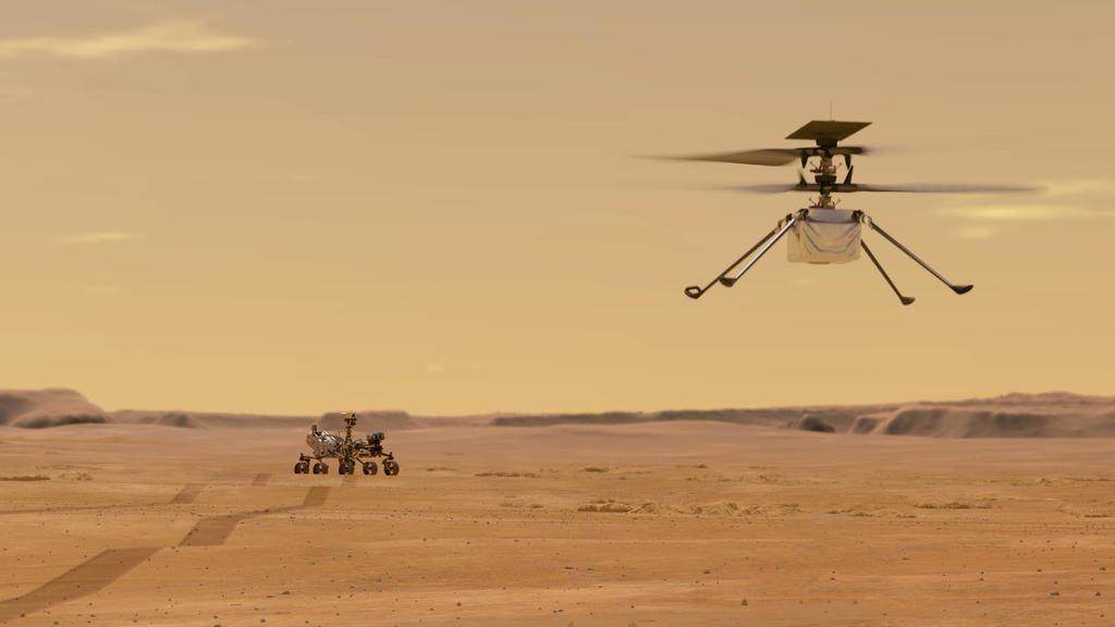 """Diese NASA-Illustration zeigt den Helikopter und den Rover """" Perseverance"""", mit dem die USA den Mars erforschen wollen."""