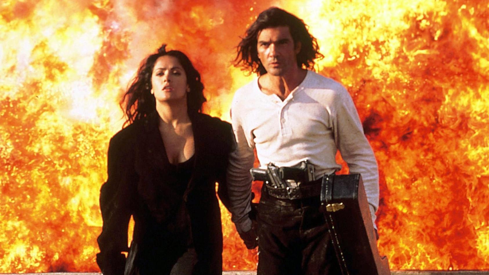 """Als Salma Hayek und Antonio Banderas im Film """"Desperado"""" (1995)"""