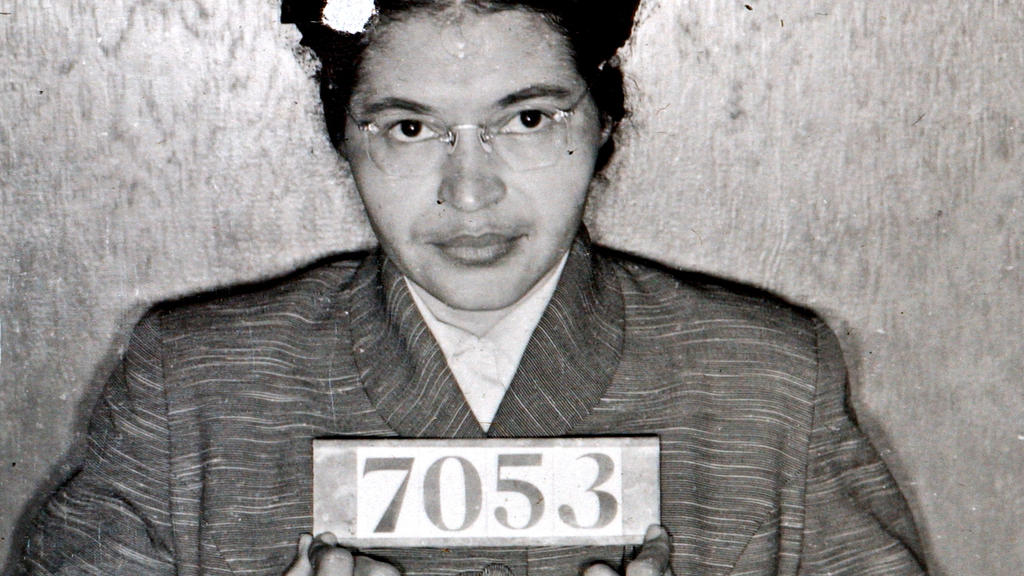 A Montgomery (Ala.) Sheriff's Department booking photo of Rosa Parks taken Feb 22, 1956, after she was arrested for refusing to give up her seat on a bus for a white passenger on Dec. 1, 1955 in Montgomery, Ala.  (AP Photo/Montgomery County Sheriff's