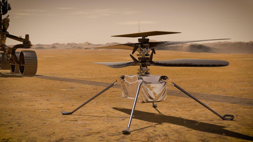 HANDOUT - 14.07.2020, ---: Die von der NASA zur Verfügung gestellte Illustration zeigt den «Ingenuity-Hubschrauber» auf der Marsoberfläche. Der kleine Hubschrauber «Ingenuity», der sich an Bord des Mars-Rovers «Perseverance» befindet, hat am Freitag