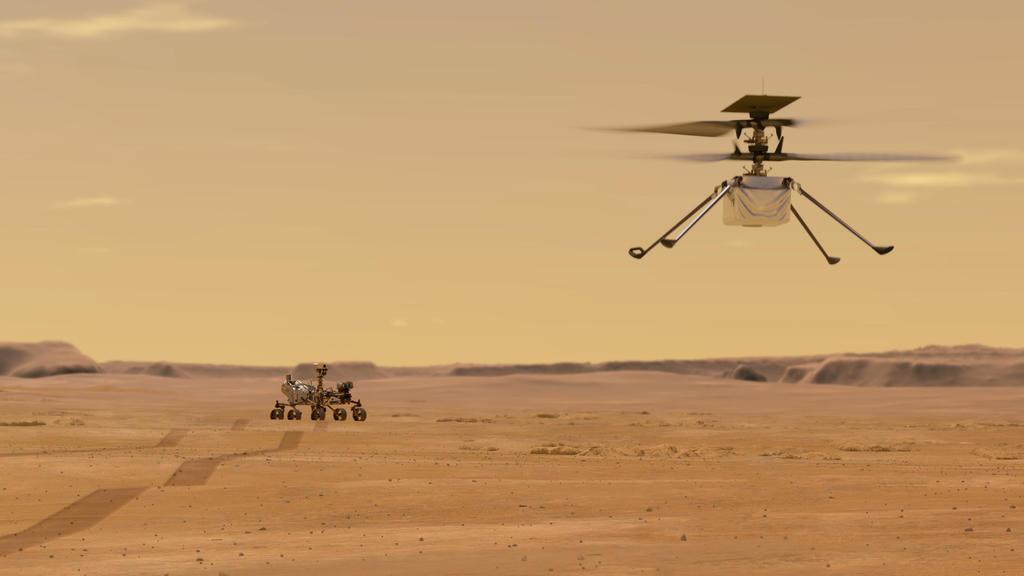 HANDOUT - 27.04.2020, ---: Die von der NASA zur Verfügung gestellte Illustration zeigt den «Ingenuity-Hubschrauber» (r) nach dem Start vom Nasa-Rover «Perseverance». Der Hubschrauber wird das erste Fluggerät sein, das einen kontrollierten Flug auf ei