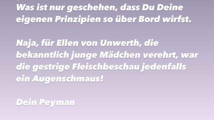 Peyman Amin richtet Worte der Enttäuschung  an Heidi Klum.