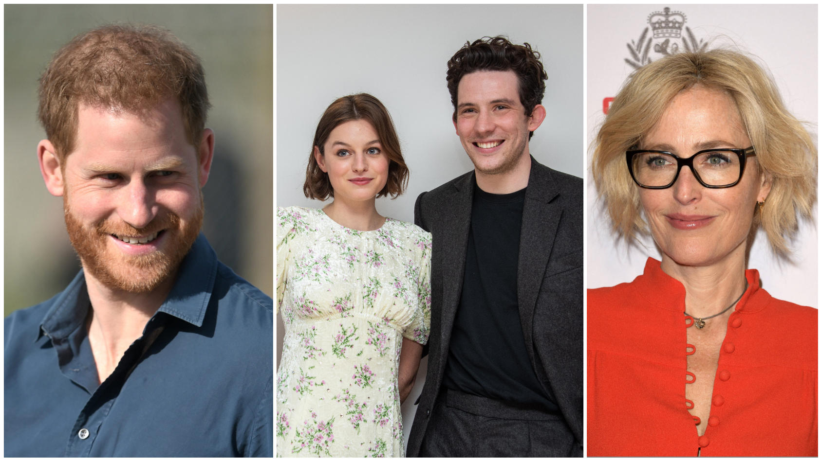 """Die """"The Crown""""-Stars Emma Corrin, Josh O'Connor  und Gillian Anderson  reagieren auf Prinz Harrys Serien-Statement."""