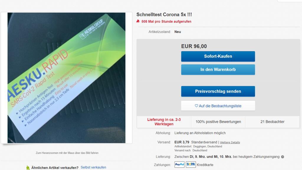Bei Ebay finden sich seit Samstagmittag mehrere Schnelltests, die bei Aldi gekauft wurden.
