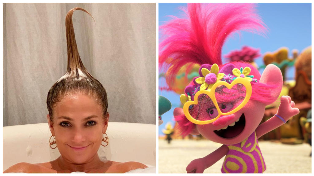 """Bei der Geburt getrennt? Jennifer Lopez und ein Troll aus dem Animationsfilm """"Trolls""""."""