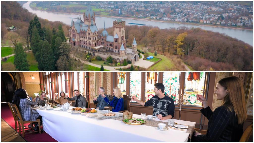 Die Kandidatinnen lernen Nikos Familie in einem Schloss in Königswinter bei Bonn kennen.