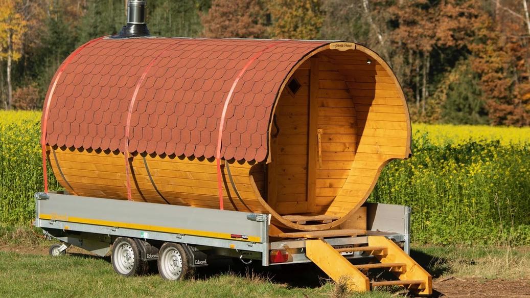 Diese Sauna kann gemietet und transportiert werden.
