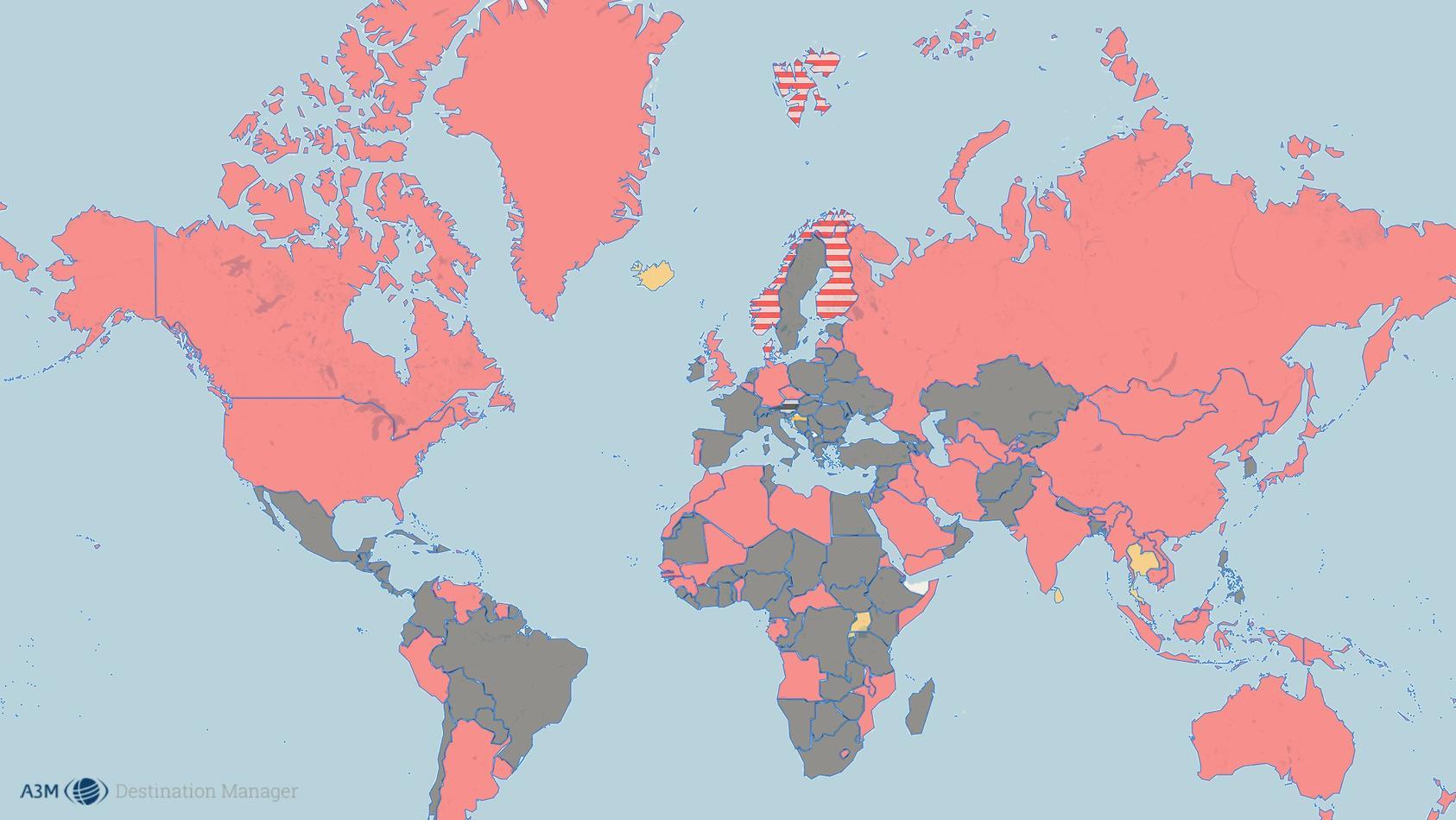 Die Weltkarte von A3M zeigt, wohin Reisen trotz Corona-Pandemie aktuell theoretisch möglich wären.
