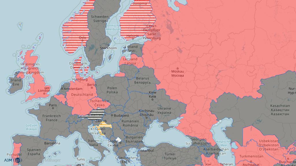 Reise-Weltkarte mit Blick auf Europa