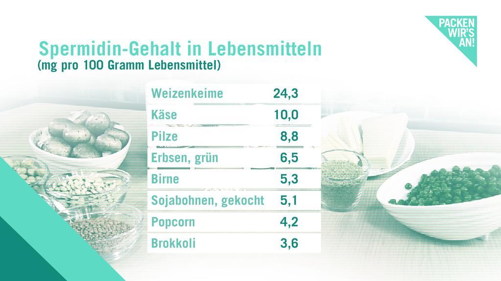 Liste mit Lebensmitteln mit hohem Spermidingehalt.