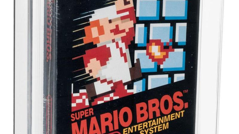 "Ein original verpacktes ""Super Mario Bros.""-Computerspiel aus dem Jahr 1985. Foto: Matt Roppolo/Heritage Auctions, HA.com/dpa"