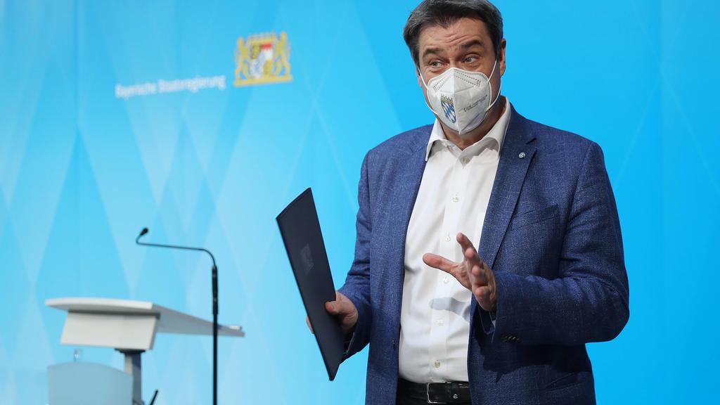 Markus Söder, Ministerpräsident von Bayern, bei einer Pressekonferenz zur Corona-Impfung in Bayern