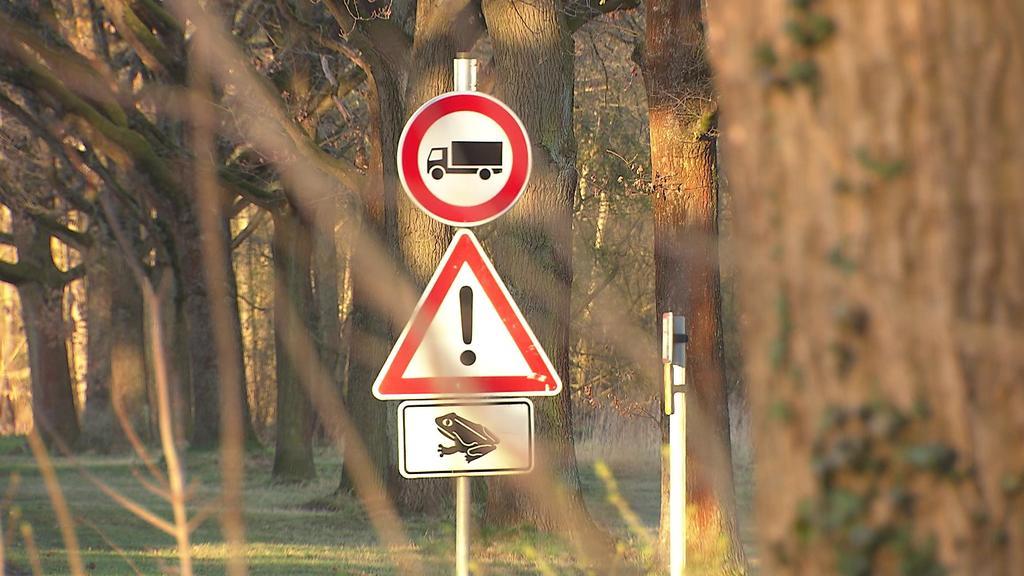Hinweisschilder bei einem Waldstück in Peine rufen Autofahrer zur Achtsamkeit auf