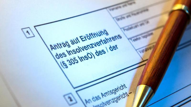 Ein Kugelschreiber liegt auf einem Antrag zur Eröffnung eines Insolvenzverfahrens. Foto: picture alliance / Alexander Heinl/dpa/Archivbild