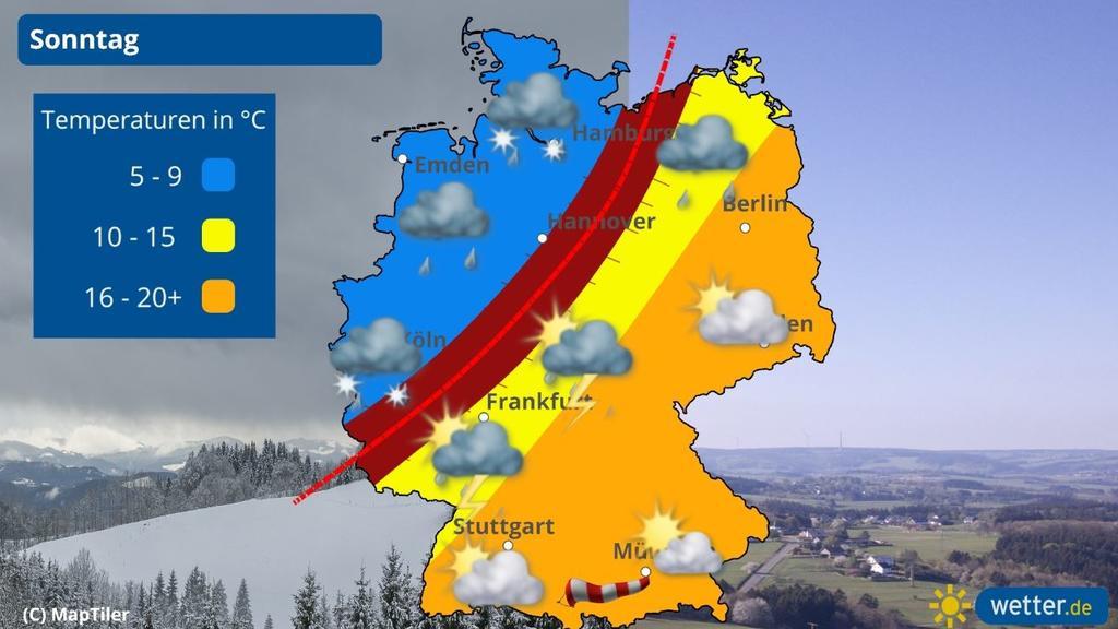 Das Wetter am Sonntag in Deutschland. Von sommerlichen Temperaturen bis Gewitter ist alles dabei.