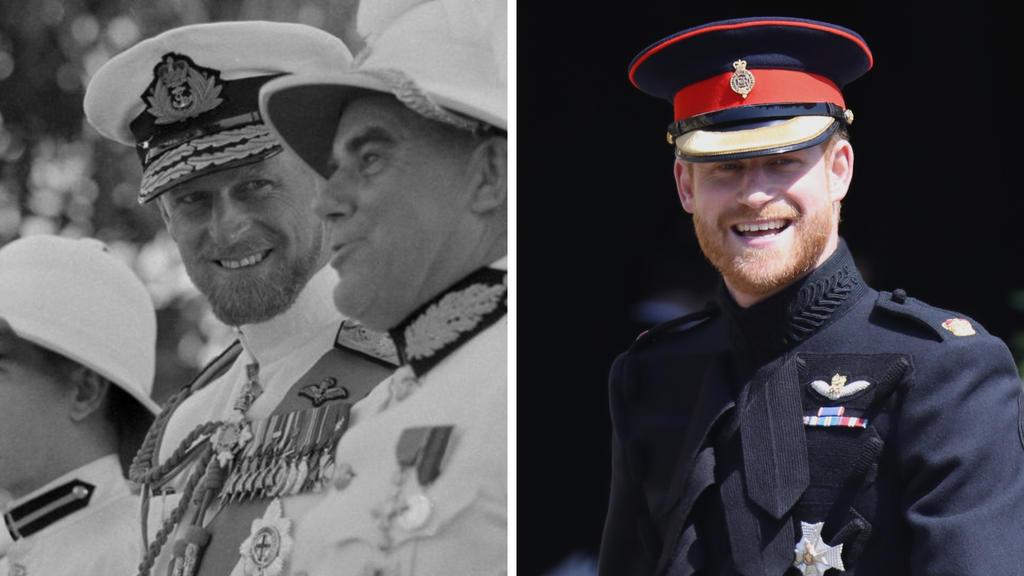 Prinz Philip im Jahr 1957 und Prinz Harry im Jahr 2018