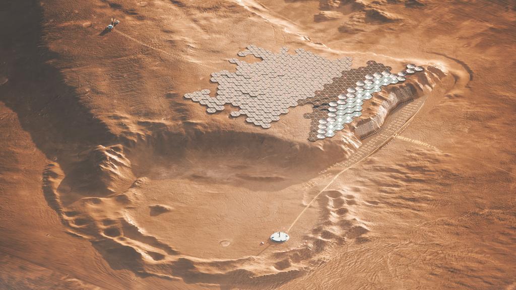 Solarpanele auf dem Bergrücken von Tepa Mensa sollen die Stadt Nüwa mit Energie versorgen.