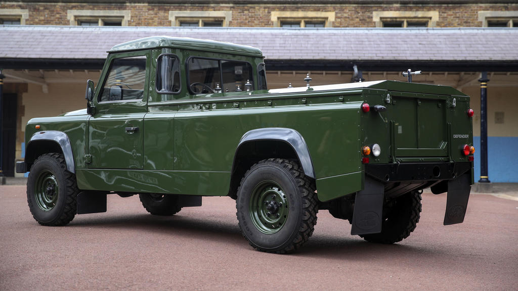 Der Jaguar Land Rover, auf dem Prinz Philips Sarg transportiert wird.