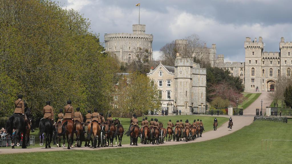Die King's Troop Royal Horse Artillery probt Prinz Philips Beerdigung