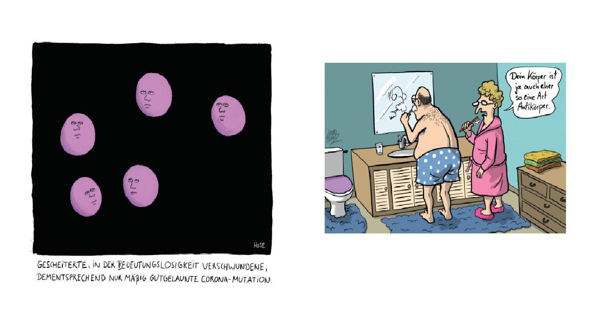 """Zwei Cartoons aus dem Buch """"Die große Freiheit - Cartoons für nach Corona"""" vom Hamburger Strich. Der Cartoon links von Huse und rechts von Dorthe Landschulz."""