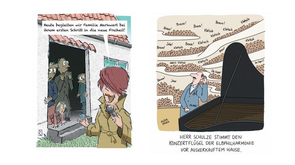 """Cartoons von Jan Rieckhoff und Kai Flemming aus dem Buch """"Die große Freiheit - Cartoons für nach Corona""""."""