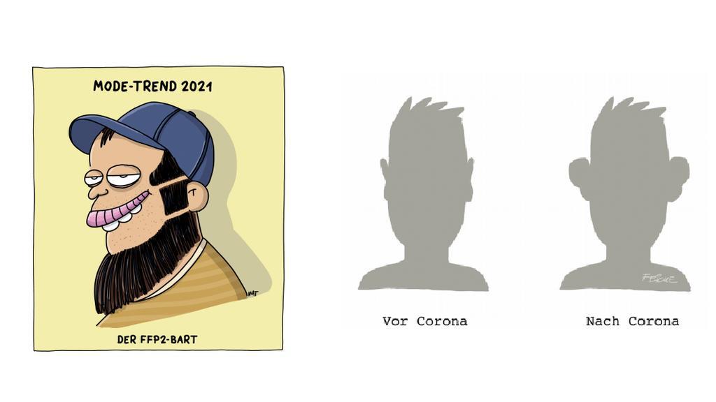 """Comics von Piero Masztalerz und Tim Oliver Feicke aus dem Buch """"Die große Freiheit - Cartoons für nach Corona""""."""