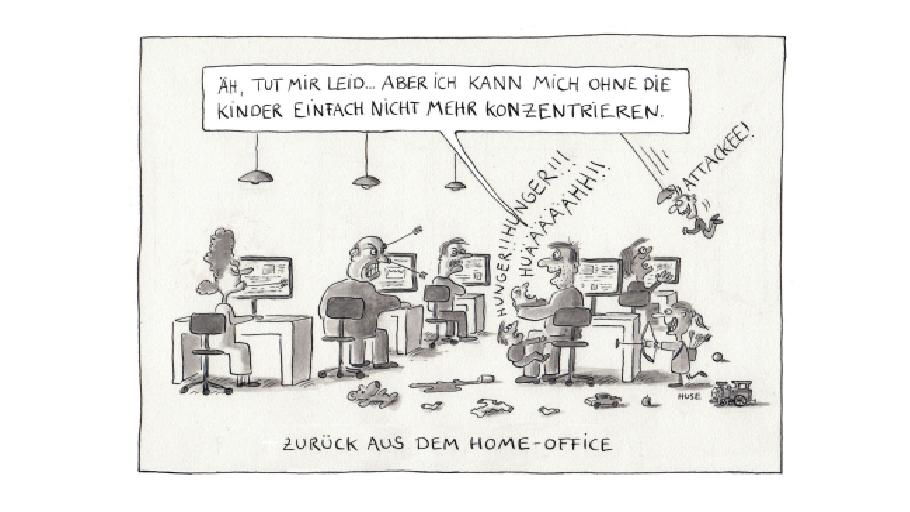 """Ein Comic von Huse aus dem Buch """"Die große Freiheit - Cartoons für nach Corona""""."""