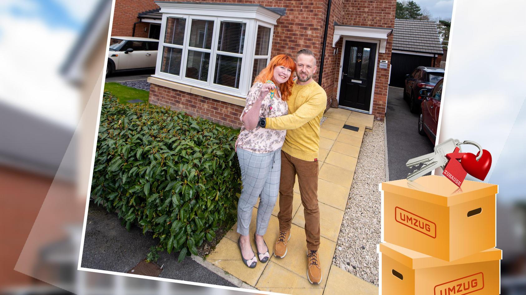 Claire und David vor ihrem ersten gemeinsamen Haus.