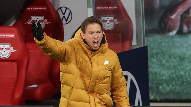 Leipzigs Trainer Julian Nagelsmann gestikuliert. Foto: Jan Woitas/dpa-Zentralbild/dpa