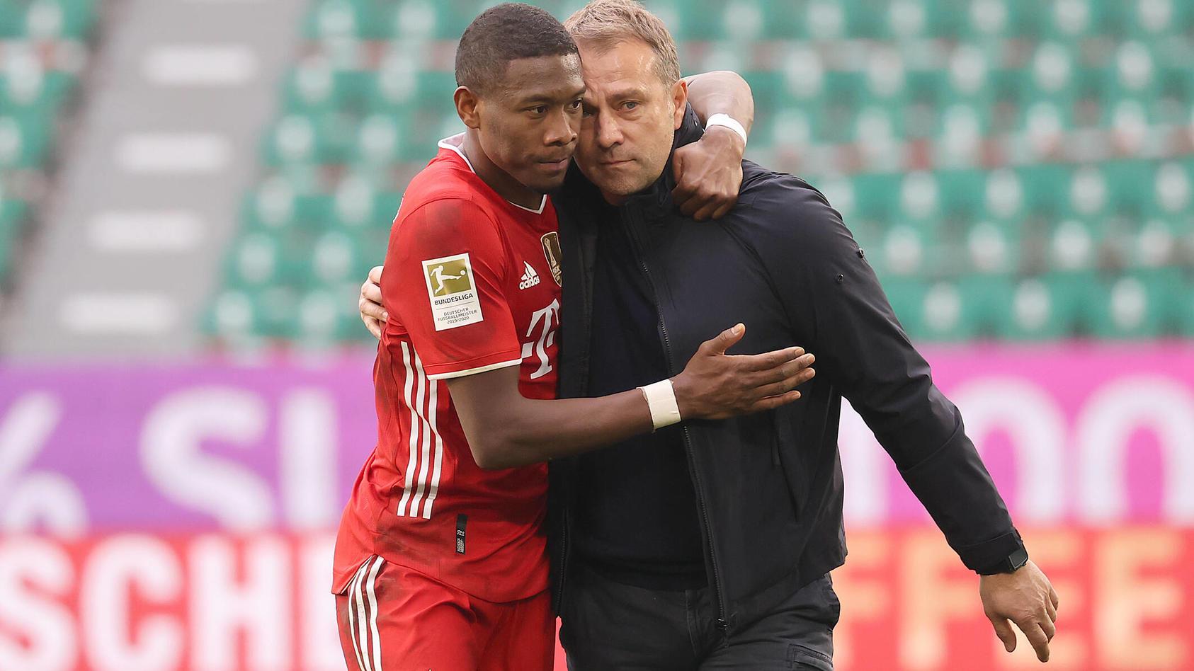 Cheftrainer Hansi Flick (FC Bayern Muenchen) mit David Alaba nach Abpfiff gluecklich DFL REGULATIONS PROHIBIT ANY USE OF