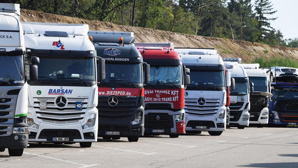 08.08.2019, Baden-Württemberg, Karlsruhe: Lastwagen stehen an der Autobahn 5 bei Karlsruhe auf einem Rastplatz auf Lkw Parkplätzen.   (zu dpa: «Risiko Rastplatz: Fehlende Lkw-Parkplätze provozieren Unfälle») Foto: Uli Deck/dpa +++ dpa-Bildfunk +++