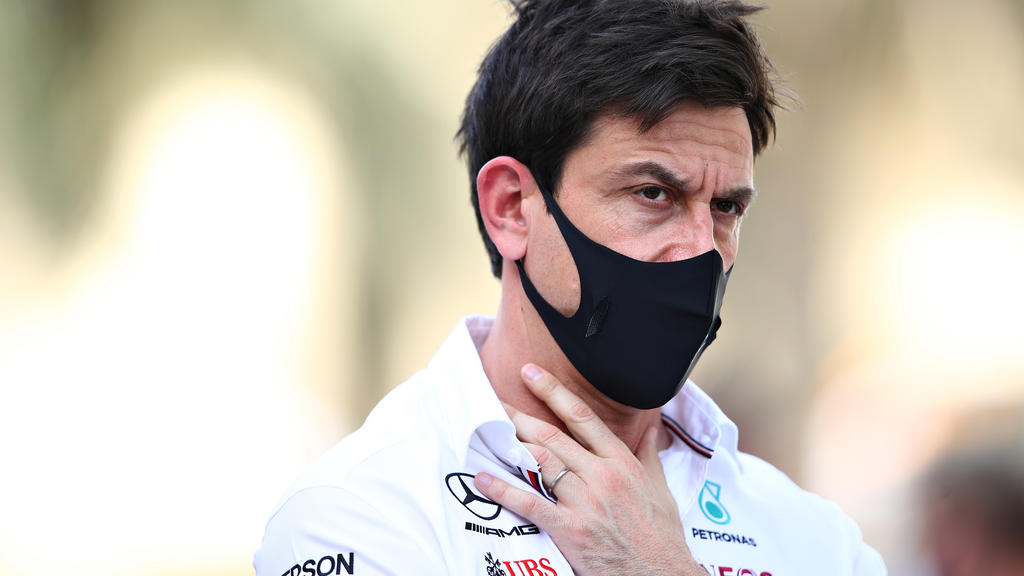 BAHRAIN, BAHRAIN - MARCH 26: Mercedes GP Executive Director Toto Wolff looks on in the Paddock during practice ahead of the F1 Grand Prix of Bahrain at Bahrain International Circuit on March 26, 2021 in Bahrain, Bahrain. (Photo by Mark Thompson/Getty