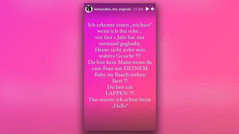 Lisha teilt in ihrer Instagram-Story gegen Chris Broy aus