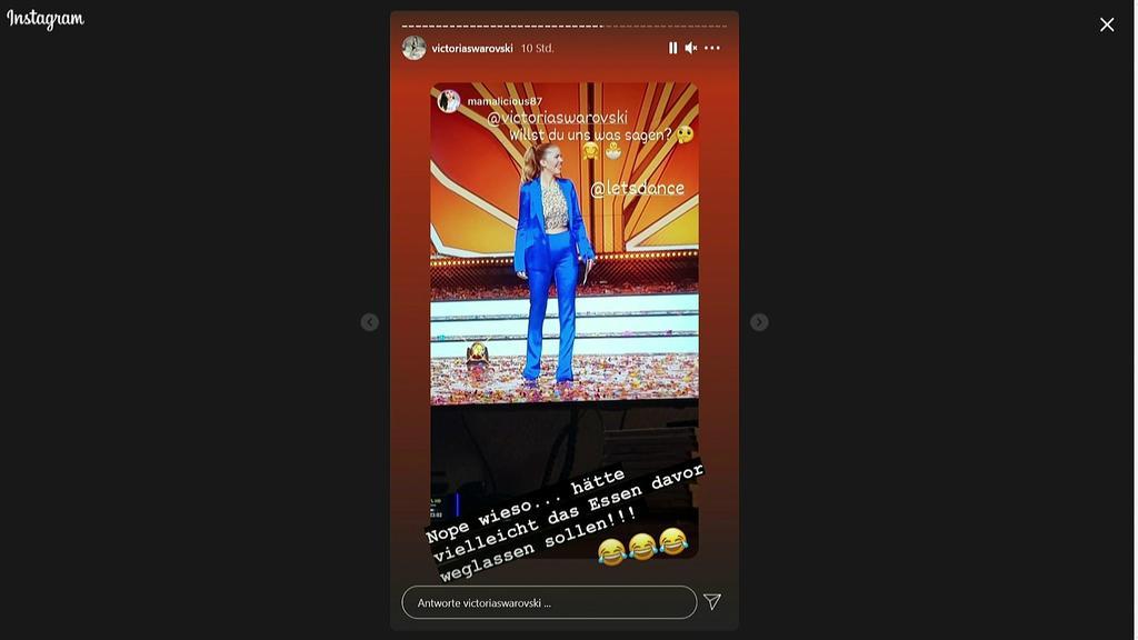 """Victoria Swarovski kontert auf Instagram die Schwangerschaftsgerüchte im Netz während der achten """"Let's Dance""""-Show."""