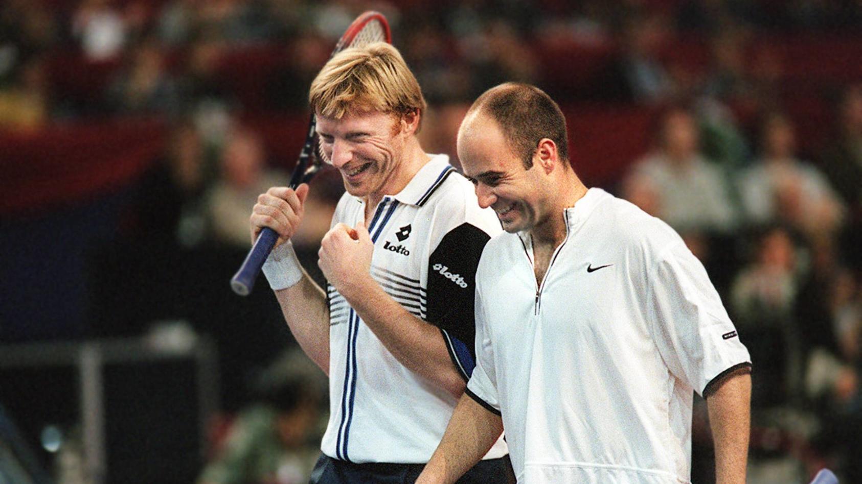 Boris Becker (l.) und Andre Agassi