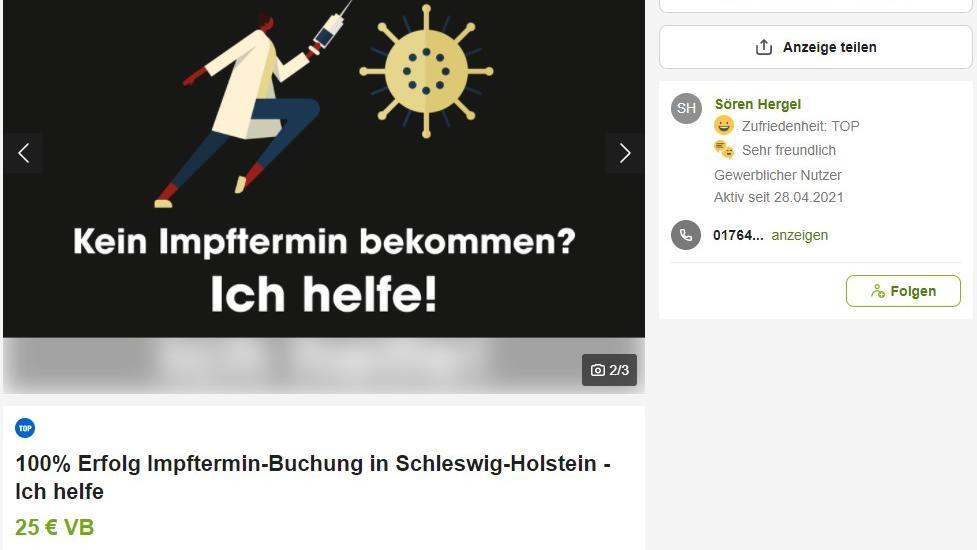 Der Kieler IT-Experte Sören Hergel bietet auf dem Internetportal eBay-Kleinanzeigen seine Hilfe für die Buchung von Impfterminen an - allerdings gegen Bezahlung.