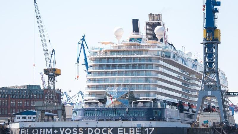 Ein Kreuzfahrtschiff liegt im Dock Elbe 17 der Schiffswerft Blohm+Voss im Hafen an der Elbe. Foto: Daniel Bockwoldt/dpa/Aktuell