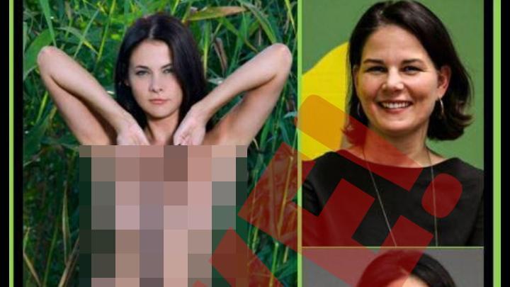 Annalena Baerbock (rechts) und die falsche Annalena, ein russisches Porno-Sternchen.