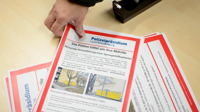Ein Mitarbeiter der Polizei Brandenburg legt Fahndungsplakate aus. Foto: Gregor Fischer/dpa/Archivbild