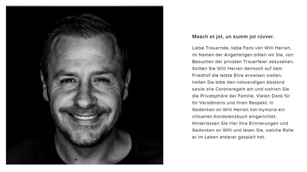 Fans können sich Online von Willi Herren verabschieden © www.mymoria.de/willi-herren