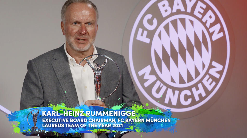 UNSPECIFIED - UNSPECIFIED DATE: In this handout screengrab released on May 6 , Karl Heinz Rummenigge, Executive Board Chairman of Bayern Munich  speaks on behalf of the team after winning the Laureus World Team of the Year Award during the Laureus Wo