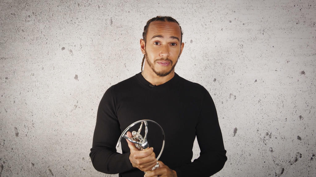 UNSPECIFIED - UNSPECIFIED: In this handout screengrab released on May 6,  Lewis Hamilton speaks after winning the Laureus Athlete Advocate of the Year Award during the Laureus World Sports Awards 2021 Virtual Award Ceremony. (Photo by Handout/Laureus