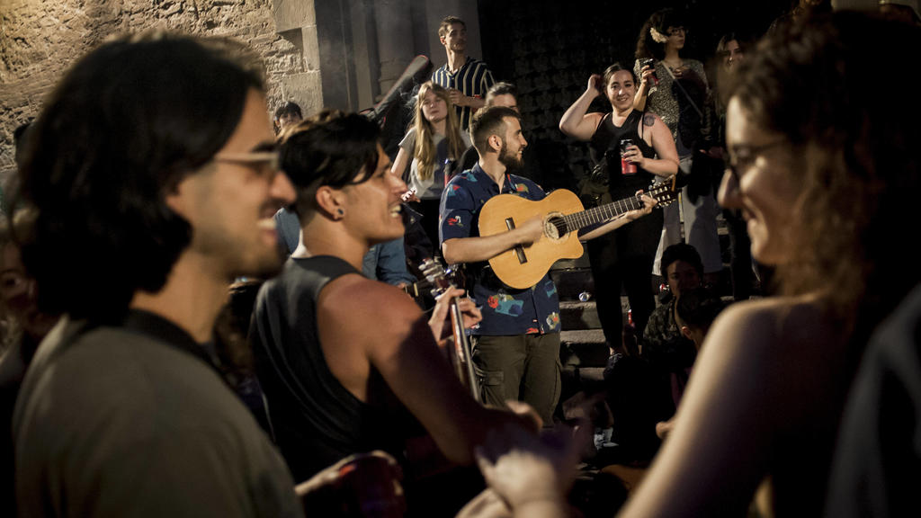 May 8, 2021, Barcelona, Spain: People gather and make party in a square of Barcelona s Gracia district shortly before the lifting of the State of Alarm in Spain. The State of Alarm that the Spanish Government decreed for the second time six months a
