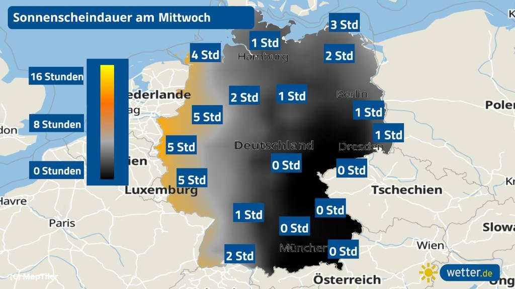 Die Sonnenscheindauer für Mittwoch in Deutschland