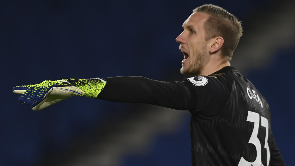Everton's goalkeeper Robin Olsen reacts during the English Premier League soccer match between Brighton and Everton at the Falmer Stadium in Brighton, England, Monday, April 12, 2021. (Glyn Kirk/Pool via AP)