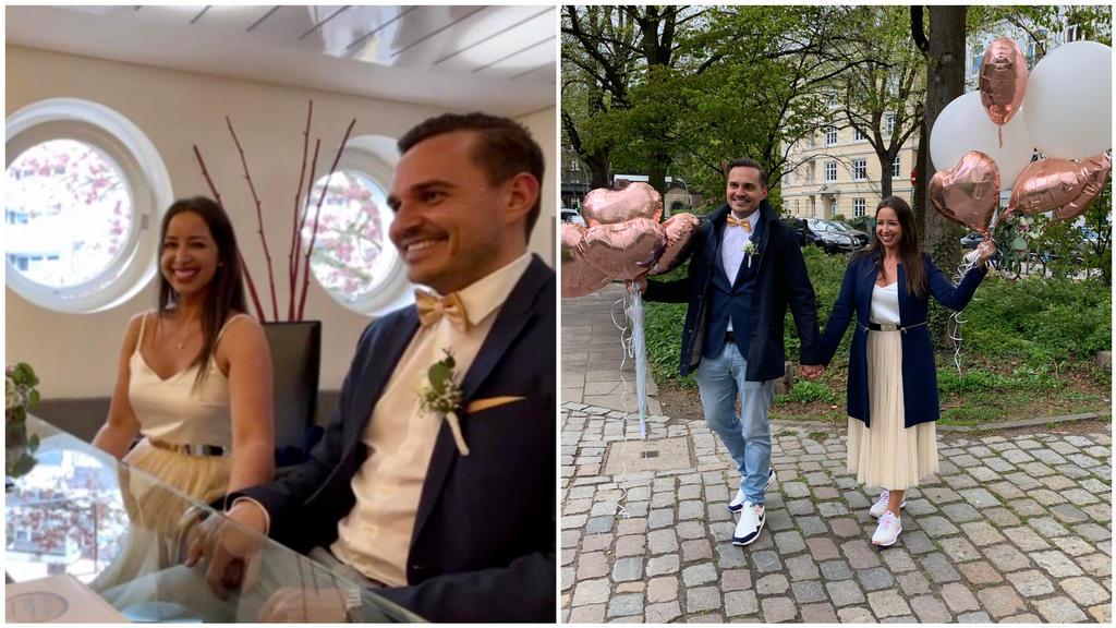 Jana und Sören während und nach der standesamtlichen Hochzeit in Hamburg.