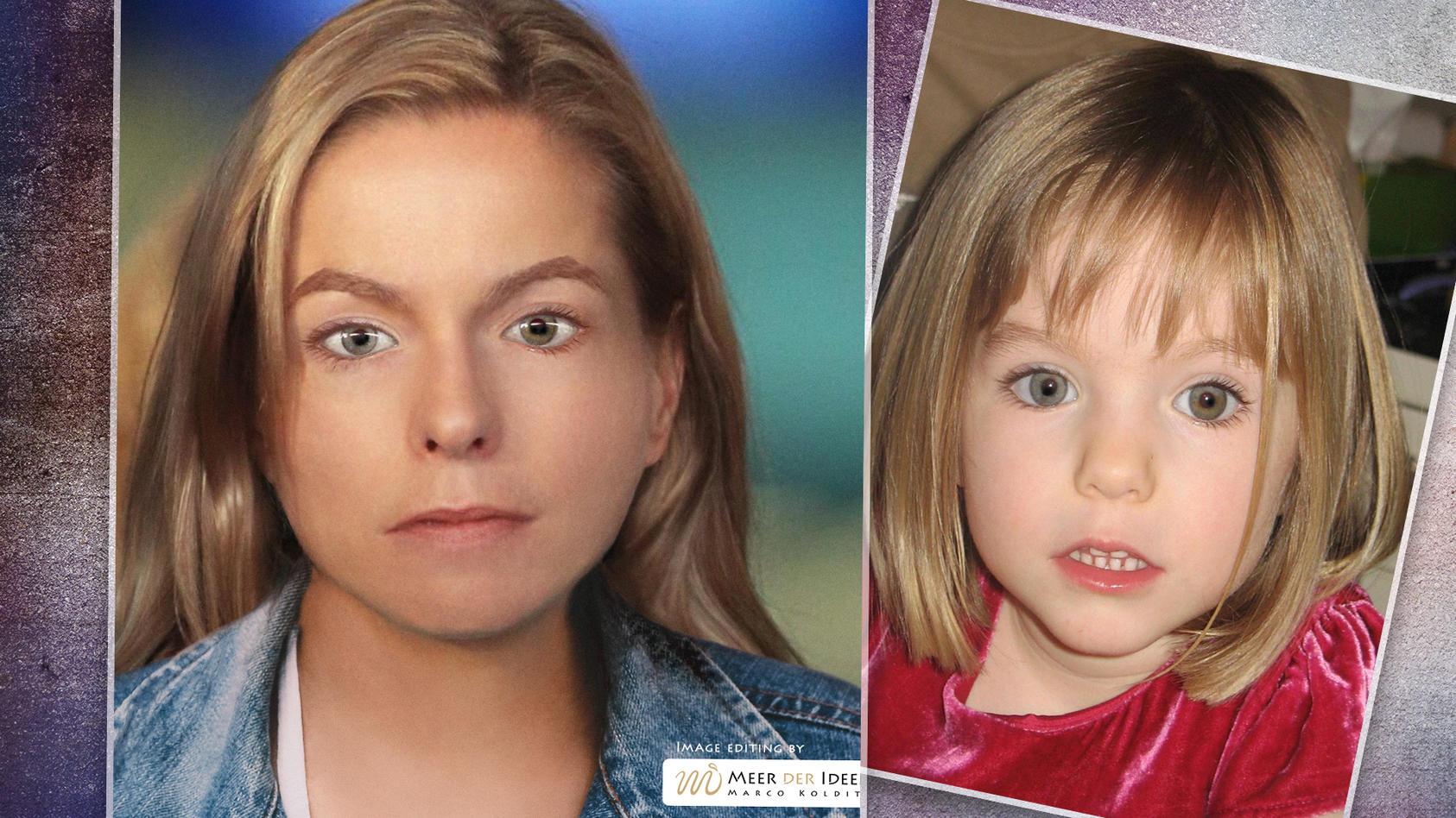 Ein am Computer erstelltes Bild zeigt, wie Madeleine McCann mit 18 Jahren aussehen könnte.