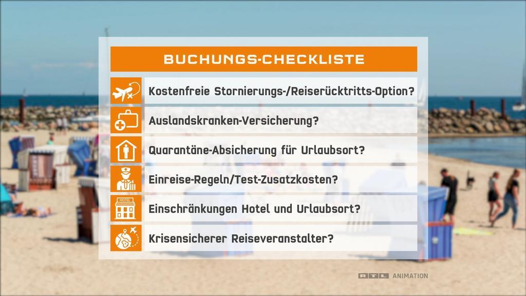 Checkliste für Urlaubsbuchung