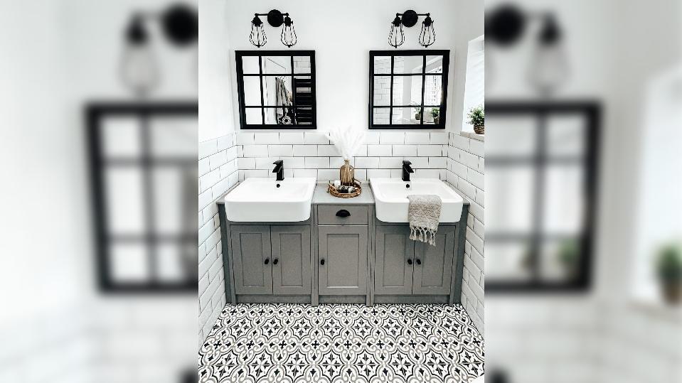 Renoviertes Badezimmer im Boho-Stil