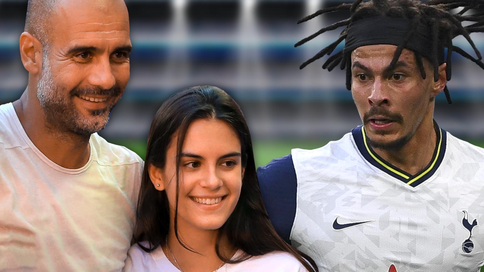 Pep Guardiola 2018 mit seiner Tochter, rechts im Bild: Dele Alli.